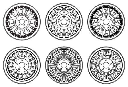 Car wheel rims icons. Vehicle parts. Vector illustration