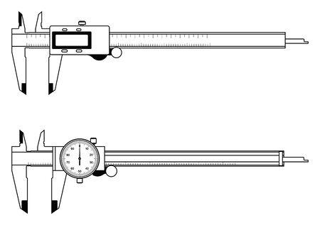 Digital caliper and dial caliper. Flat icons