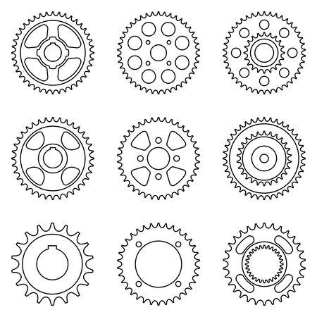 Sprocket wheel. Flat icon isolated on white background