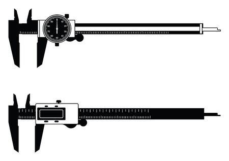 Digital caliper and dial caliper. Vector illustration