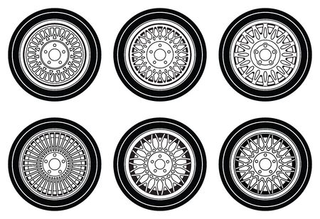 Car wheel rims and tires. Flat icons. Vector illustration