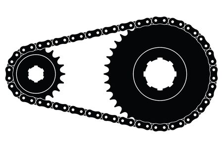 Sprocket wheel and chains. Machine parts. Vector illustration