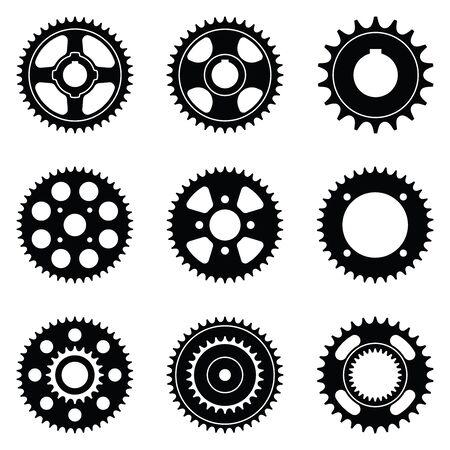 Sprocket wheel. Silhouette icon. Vector illustration