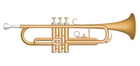 Trumpet. Musical instrument. 3D effect vector