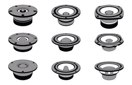 Speaker drivers icon set. Vector illustration