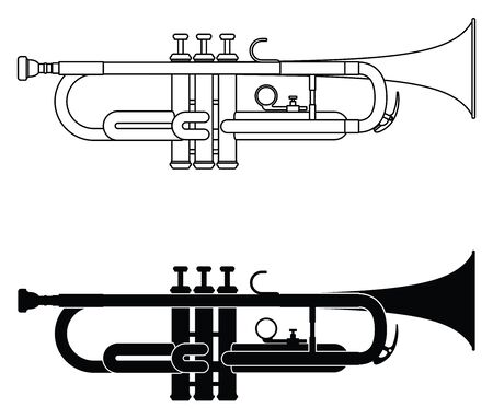 Trumpet icon set. Thin line and silhouette vector Illusztráció