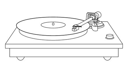 Turntable. Record player. Thin line vector