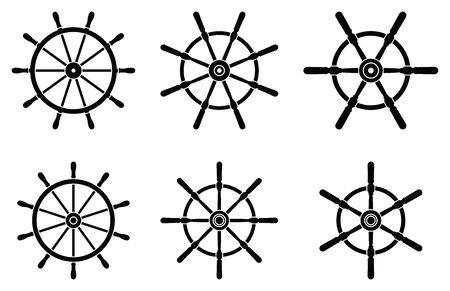 Metal ship wheel icon set. Silhouette vector Illusztráció