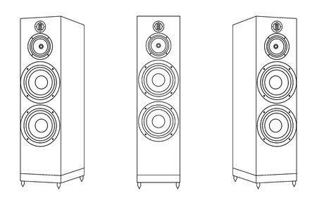 Loudspeaker. Floorstanding speaker. Thin line icons Illusztráció