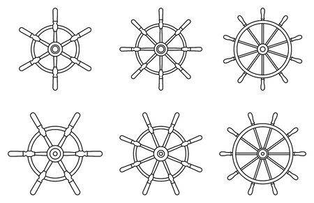 Metal ship wheel icon set. Thin line vector Illusztráció