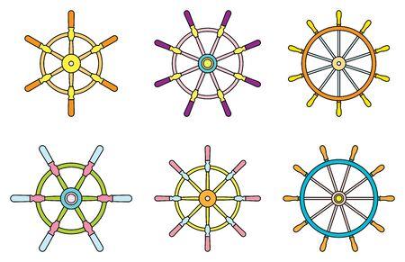 Metal ship wheel icon set.. Vector illustration Illusztráció