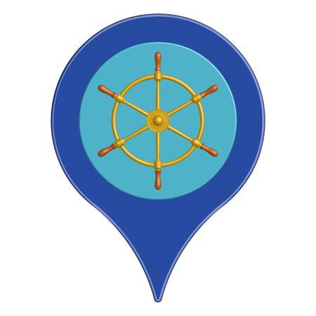 Ship wheel and location symbol. Vector illustration