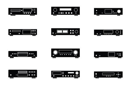 Audio equipments. CD player. Amplifier. Media server. Flat icons