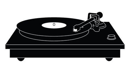 Turntable. Record player. Silhouette vector Illusztráció