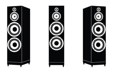 Loudspeaker. Floorstanding speaker. Silhouette icons