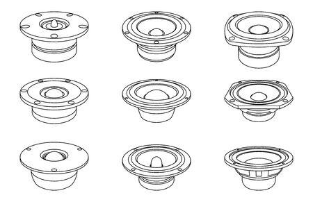 Speaker drivers icon set. Thin line vector Illusztráció