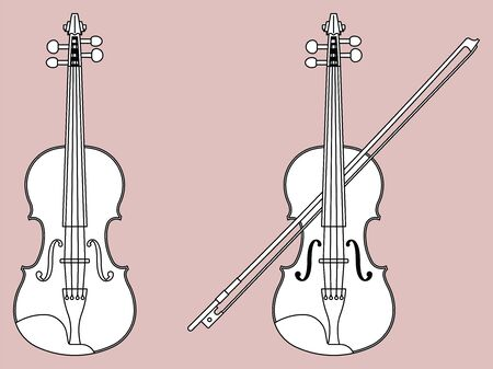 Violin icon set. Vector thin line