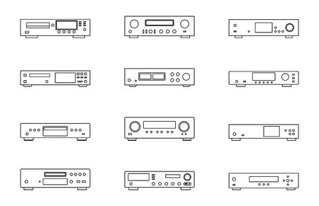 Audio equipments. CD player. Amplifier. Media server. Thin line icons