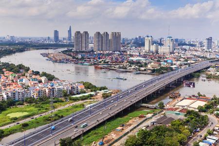 Ho Chi Minh City on River Stock fotó