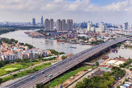 Ho Chi Minh-Stad op Rivier Stockfoto - 33749043