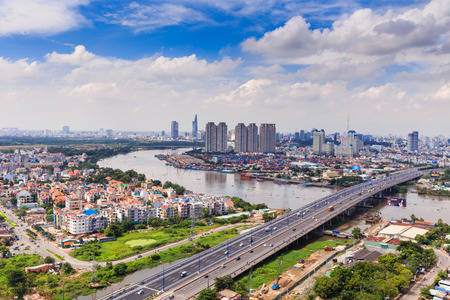 Ho Chi Minh City op rivier Stockfoto - 33736223