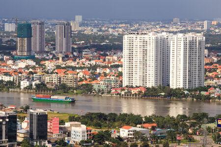 Ho Chi Minh-stad Panorama, Saigon Vietnam Stockfoto