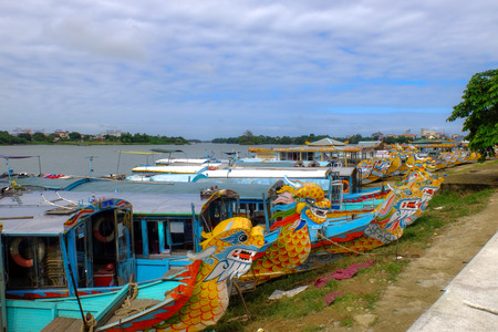 The dragon boat tour on the river-Hue Vietnam photo