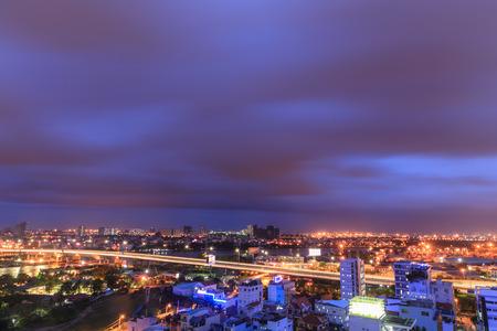 violet residential: Ho Chi Minh City at night