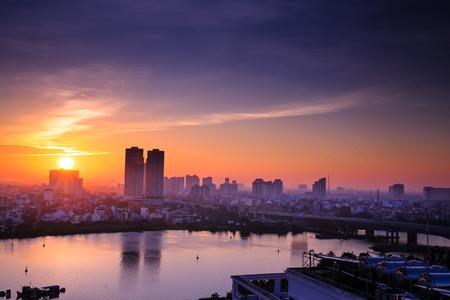 dawn in Ho Chi Minh city Foto de archivo