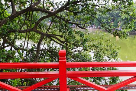 wooden railings: wooden railings of Huc Bridge in Hoan Kiem Lake