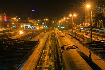 confined space: Night in Hanoi train station Editorial