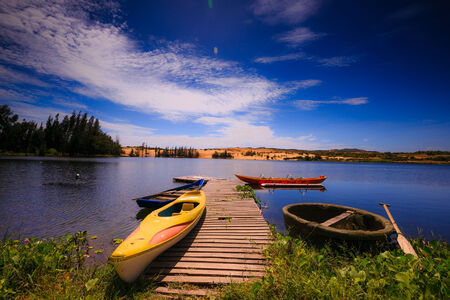 Dugout canoes on the lake photo