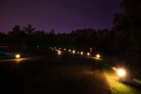the color of silence: Road with in night footlights