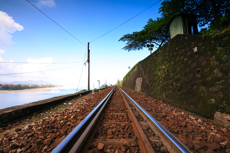 railroad track: Railroad track by the ocean