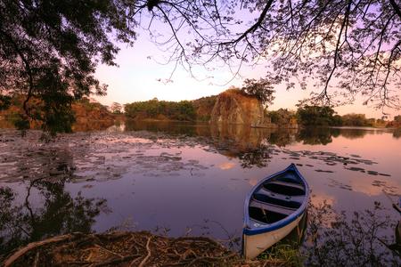 muskoka: The boat on the lake in resort Stock Photo