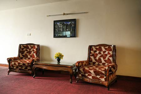 Two sofas in the lounge of the hotel