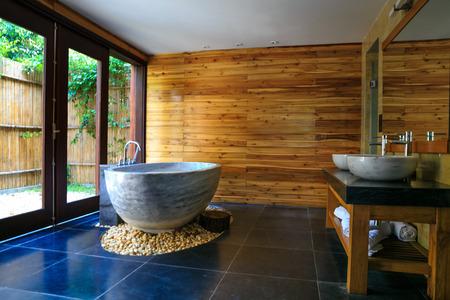 Stone bath in luxury resort