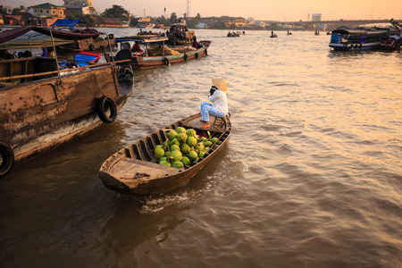 can tho: Vietnamese woman selling fruit on floating market
