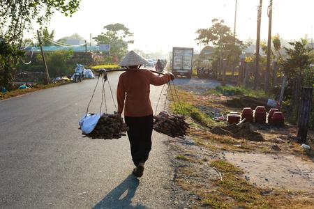 brushwood: Woman VietNam carrying brushwood Stock Photo