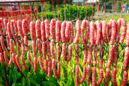 Production of sausages Asia Foto de archivo