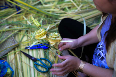 Toys handmade from coconut leaves