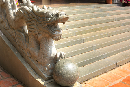 soapstone: Stone dragon in temple Vietnam Stock Photo