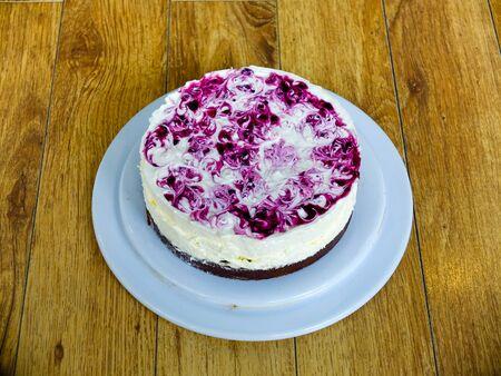 cake ball: Raspberry cheese cake and ice cream ball Stock Photo