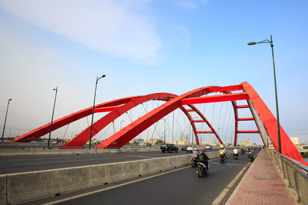 steel arch bridge: steel arch bridge in VietNam Stock Photo