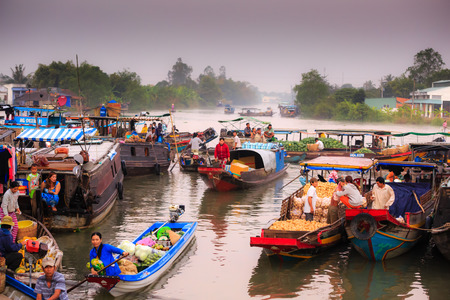 Hau Giang province Vietnam 05 February 2015 A view the busiest trading on the river. a definition of the culture southern Mekong Delta Vietnam