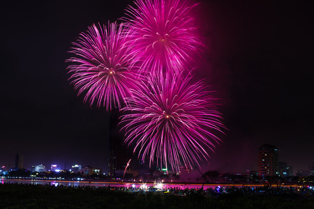Vietnam Da Nang city April 28 2015: Festival International Fireworks Competition 2015 in Da Nang on the banks of the Han River in Da Nang city center