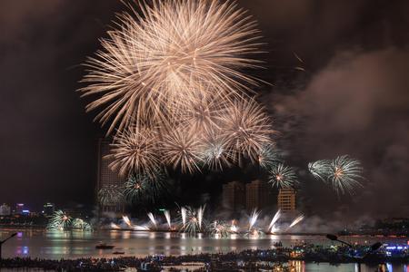Festival fireworks on the River Handa Nang Vietnam Editorial