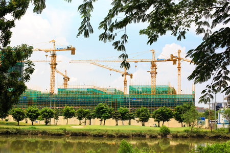apartment blocks: Vietnam Ho Chi Minh city May 6 2015: Vietnamese construction is on development with many apartment blocks rise Highrise building in Viet Nam Sai Gon urban