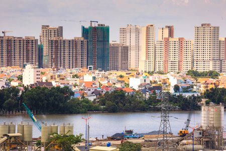 heterogeneous: Vietnam Ho Chi Minh city May 24 2015: the entire city of Ho Chi Minh city in the Most Populous Southeast Asia region the pace of construction is very fast but not as planned heterogeneous architecture
