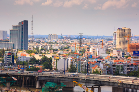 Vietnam Ho Chi Minh city May 24 2015: the entire city of Ho Chi Minh city in the Most Populous Southeast Asia region the pace of construction is very fast but not as planned heterogeneous architecture